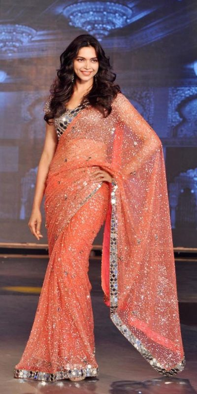 deepika-padukone-in-orange-color-georgette-with-sequence-mirror-work-saree