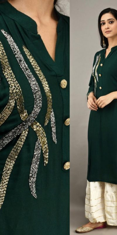 green-color-heavy-rayon-with-khatli-work-kurti-with-plazzo