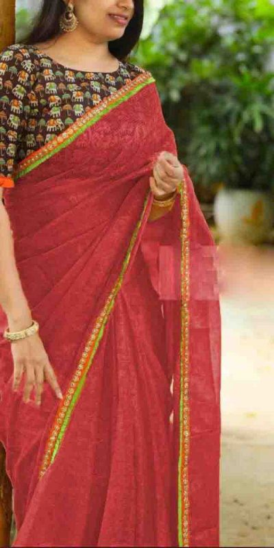 heavy-cotton-net-red-color-saree-with-digital-printed-blouse