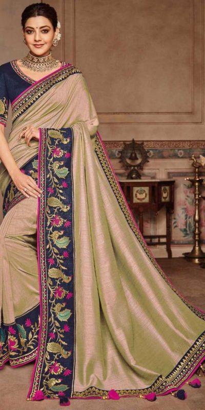 kajal-angelic-look-in-cream-color-party-wear-saree