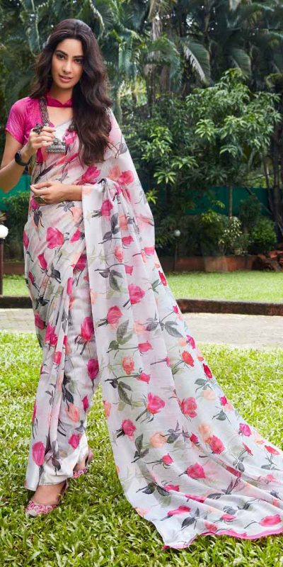 perfect-party-wear-saree-for-womens-in-whitepink-color-georgette-with-print