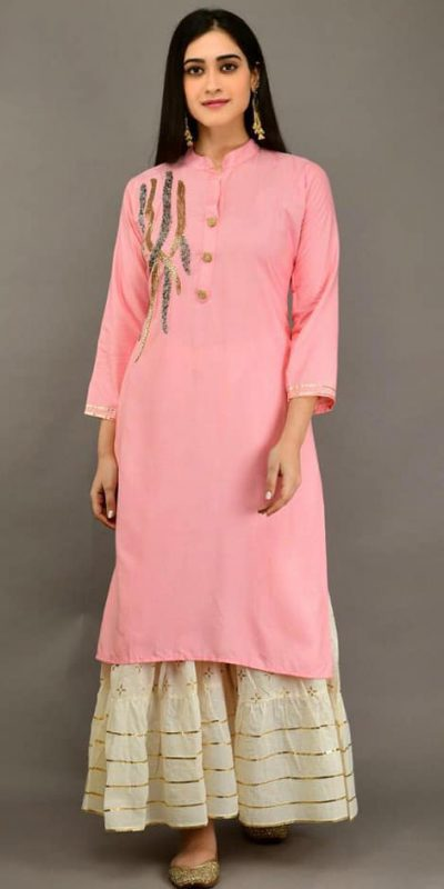 pink-color-heavy-rayon-with-khatli-work-kurti-with-plazzo