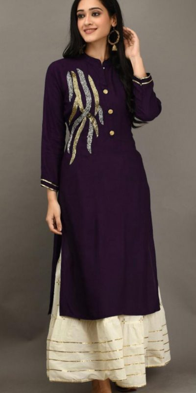 purple-color-heavy-rayon-with-khatli-work-kurti-with-plazzo
