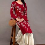 red-color-heavy-rayon-floral-kurta-for-women