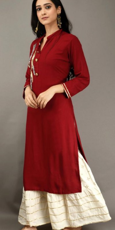 red-color-heavy-rayon-with-khatli-work-kurti-with-plazzo