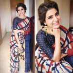 samantha-in-womens-wear-whiteblue-color-georgette-with-printed-saree