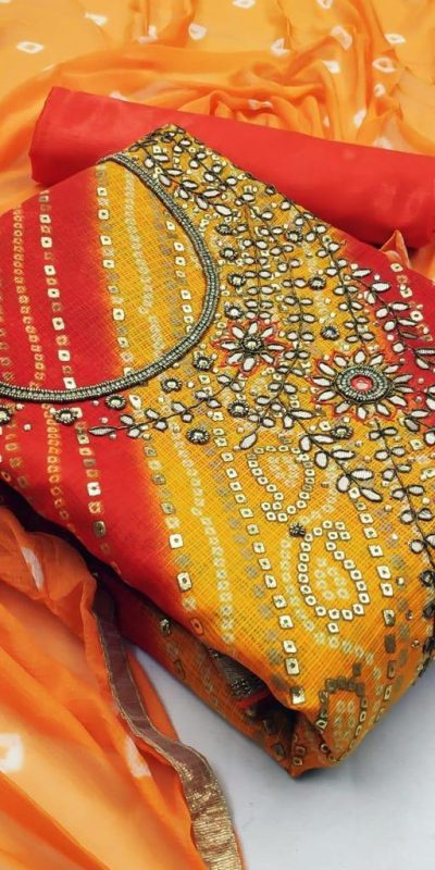 special-dress-material-for-womens-in-orange-color-kota-chex-print