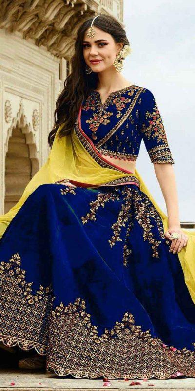 stunning-wedding-wear-blue-color-heavy-velvet-lehenga-choli
