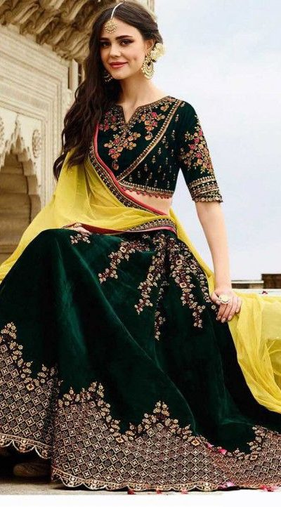 stunning-wedding-wear-green-color-heavy-velvet-lehenga-choli