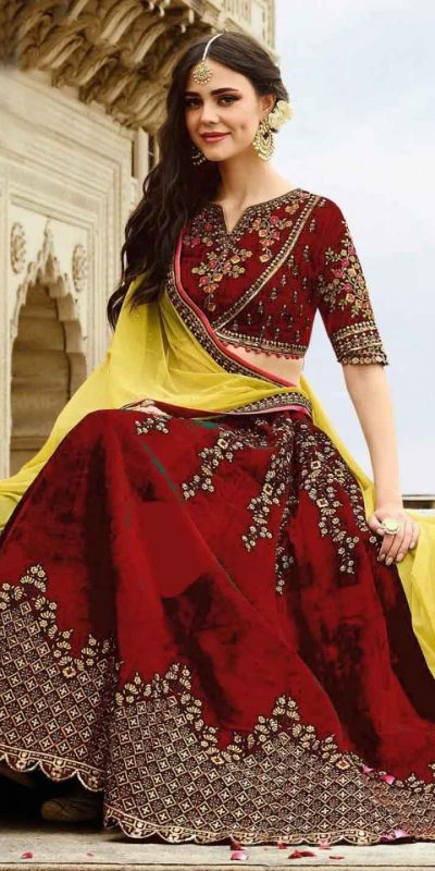 stunning-wedding-wear-red-color-heavy-velvet-lehenga-choli