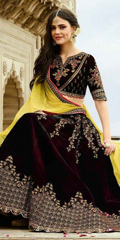 stunning-wedding-wear-wine-color-heavy-velvet-lehenga-choli