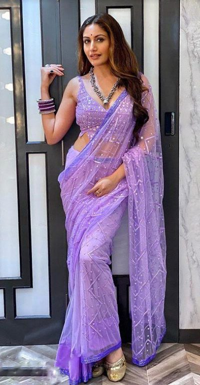 surbhi-chandna-in-purple-color-mono-net-sequence-mirror-work-saree