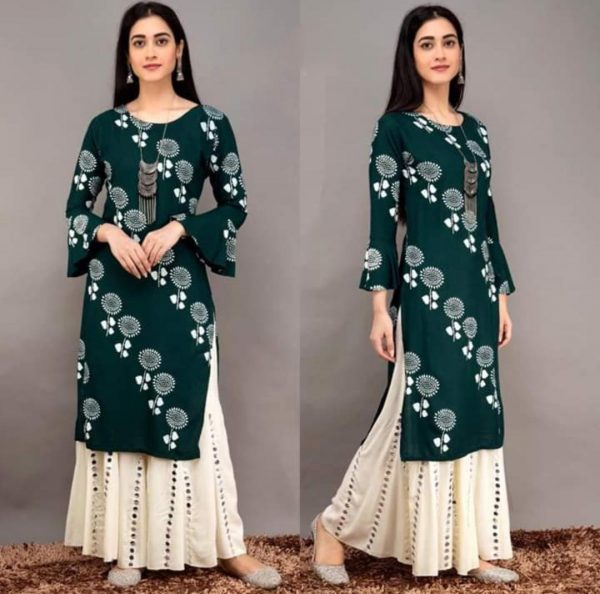 teal-green-color-heavy-rayon-floral-kurta-for-women