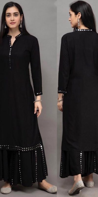 womens-daily-wear-black-color-heavy-rayon-kurti-with-plazzo