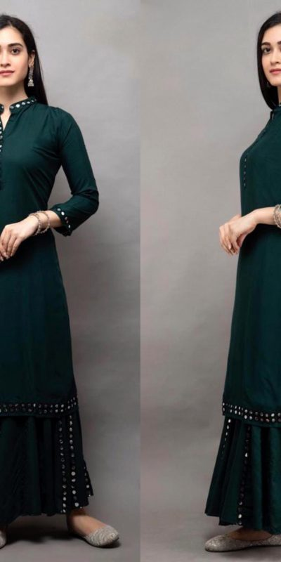 womens-daily-wear-dark-green-color-heavy-rayon-kurti-with-plazzo
