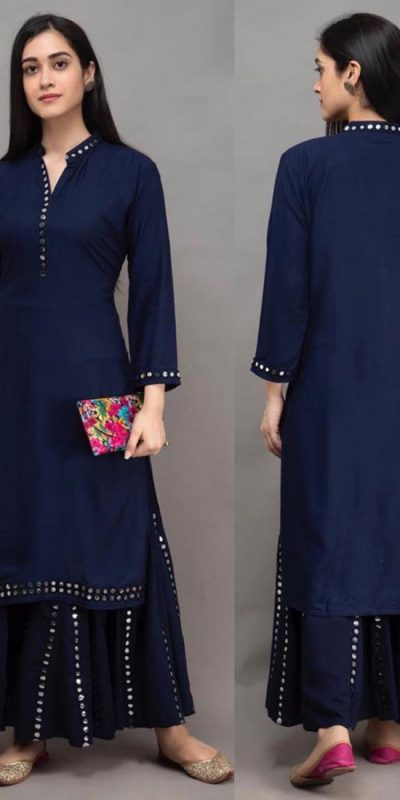 womens-daily-wear-navy-blue-color-heavy-rayon-kurti-with-plazzo