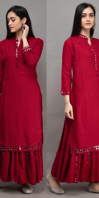 womens-daily-wear-red-color-heavy-rayon-kurti-with-plazzo