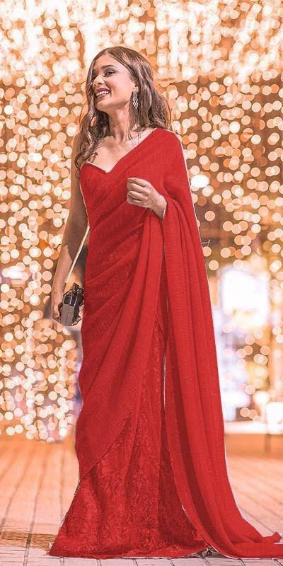 womens-party-wear-red-color-georgette-and-sequence-work-saree