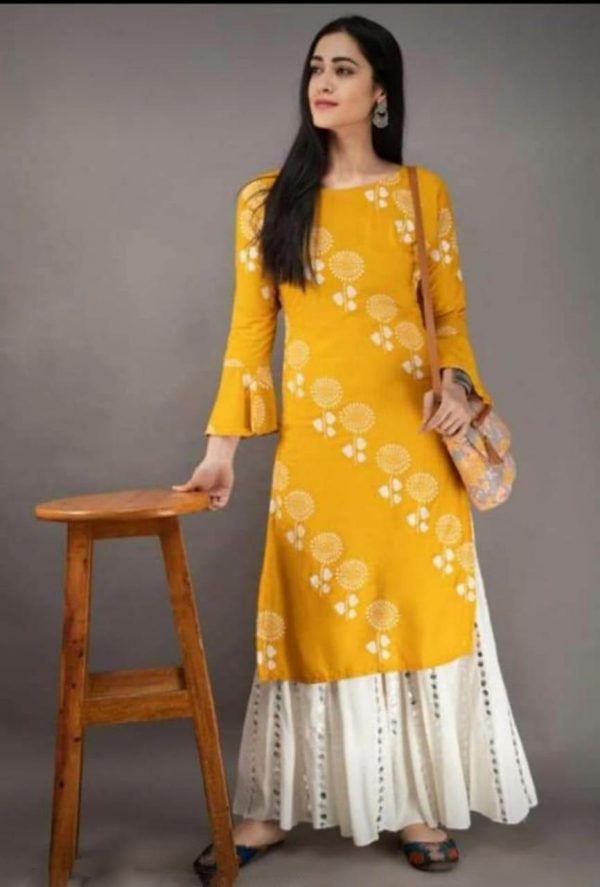 yellow-color-heavy-rayon-floral-kurta-for-women