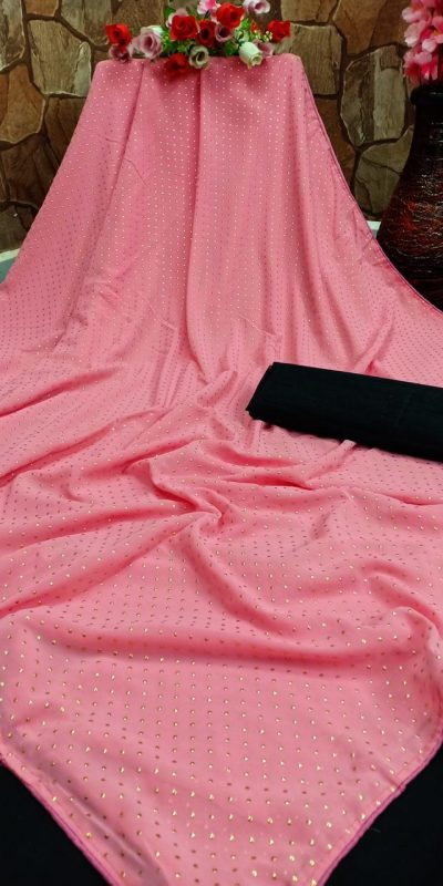Adorable Pink Color Georgette Due Dot Work Party Wear Saree