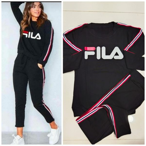 Black Color Rib Cotton Modern Trendy Wear Track Suits