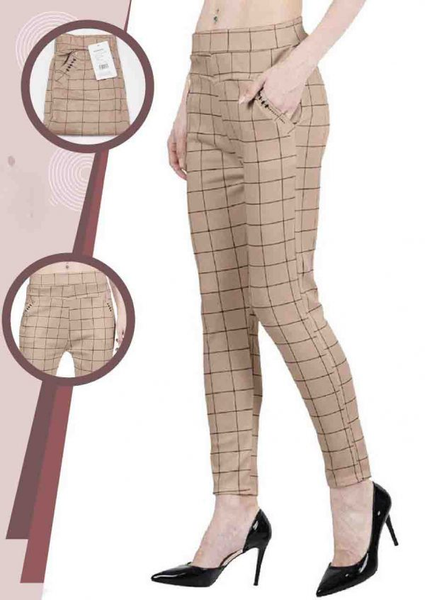 Daily Casual Wear Imported Lycra Fabric Stretchable Chex Bottoms Cream