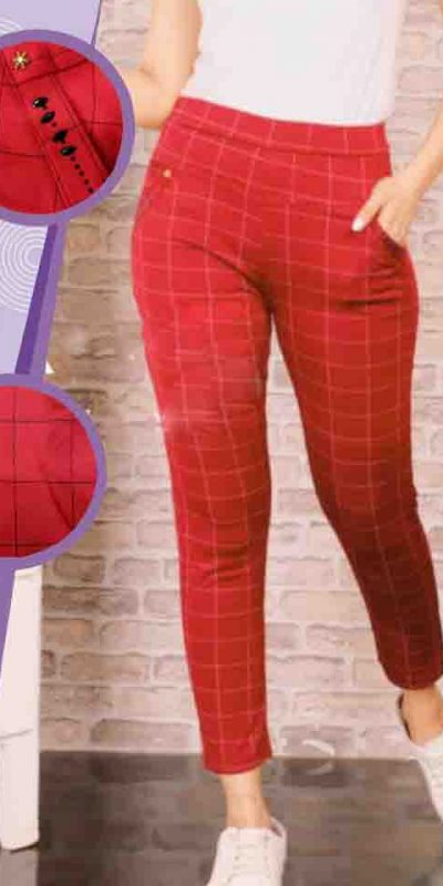 Daily Casual Wear Imported Lycra Fabric Stretchable Chex Bottoms Red
