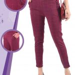 Daily Casual Wear Imported Lycra Fabric Stretchable Chex Bottoms Wine