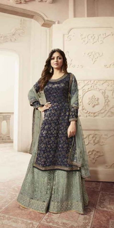 Grand look With Navy Blue Heavy Jacquard Silk Georgette Plazo Suit