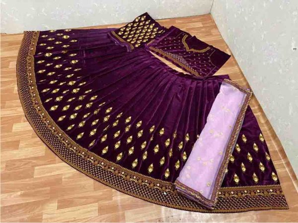 Wine Color Heavy Original Velvet Full Embroidery Work Lehenga Choli