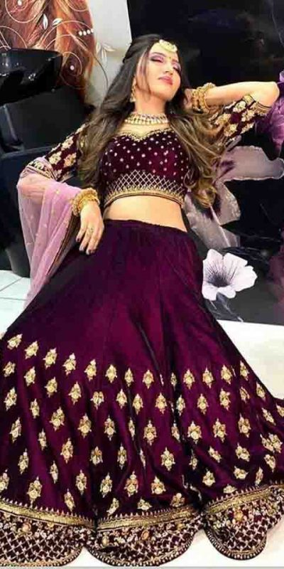 Wine Color Heavy Original Velvet Full Embroidery Work Lehenga Choli