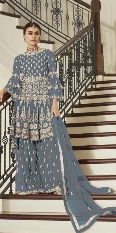 aashirwad-grey-color-net-coding-embroidered-sharara-suit