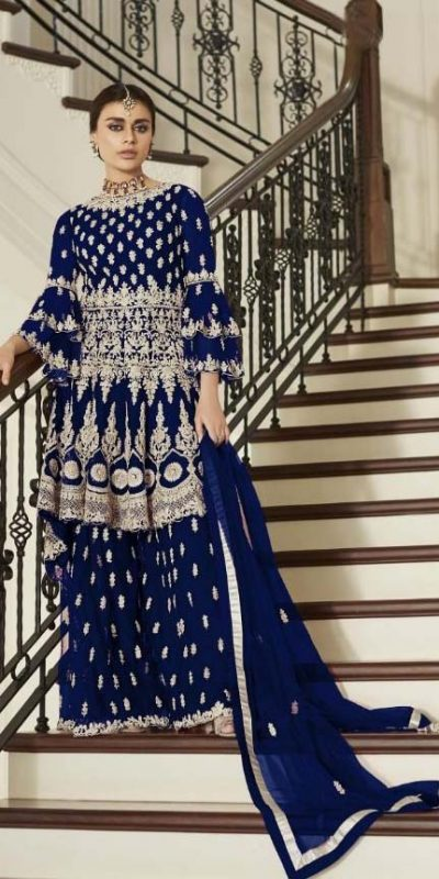 aashirwad-navy-blue-color-net-coding-embroidered-sharara-suit
