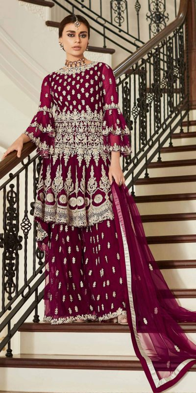 aashirwad-wine-color-net-coding-embroidered-sharara-suit