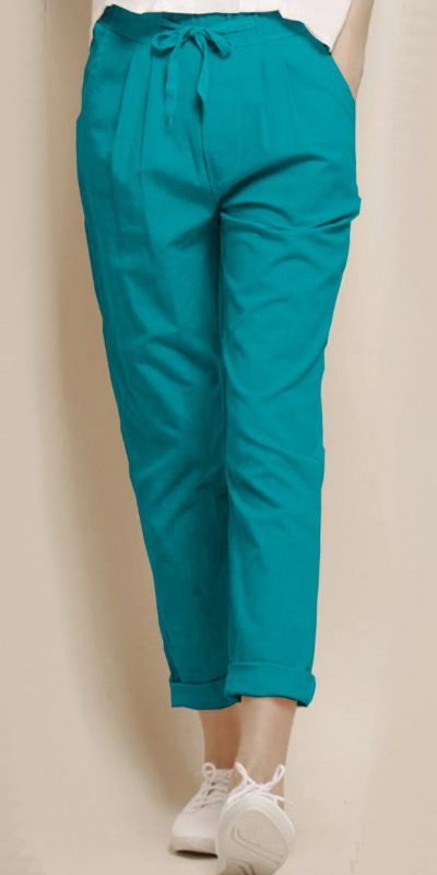 alluring-aqua-blue-color-cotton-with-linen-weaving-comfort-trouser