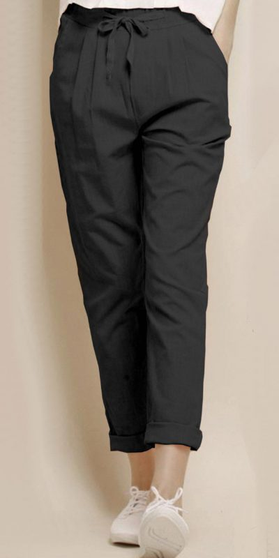 alluring-black-color-cotton-with-linen-weaving-comfort-trouser