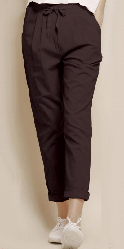 alluring-brown-color-cotton-with-linen-weaving-comfort-trouser