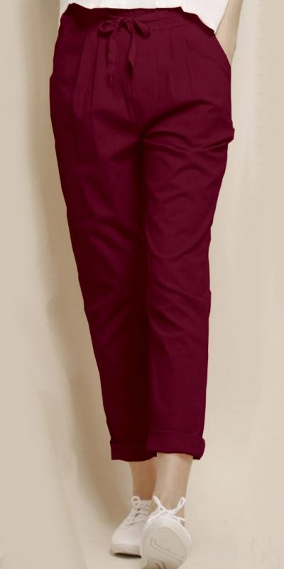 alluring-maroon-color-cotton-with-linen-weaving-comfort-trouser