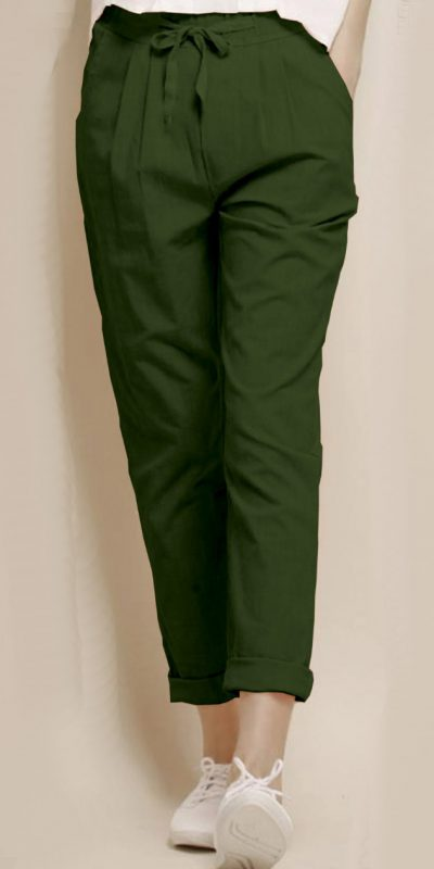 alluring-olive-green-color-cotton-with-linen-weaving-comfort-trouser