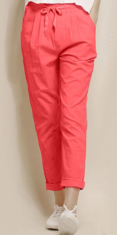 alluring-orange-color-cotton-with-linen-weaving-comfort-trouser
