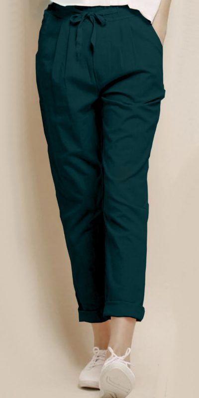 alluring-peacock-blue-color-cotton-with-linen-weaving-comfort-trouser