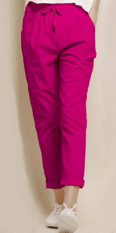 alluring-pink-color-cotton-with-linen-weaving-comfort-trouser