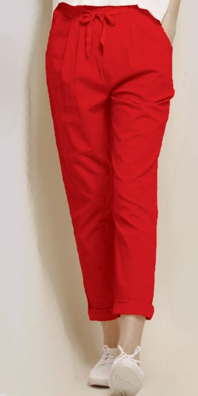 alluring-red-color-cotton-with-linen-weaving-comfort-trouser