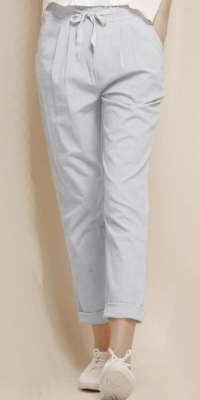 alluring-white-color-cotton-with-linen-weaving-comfort-trouser