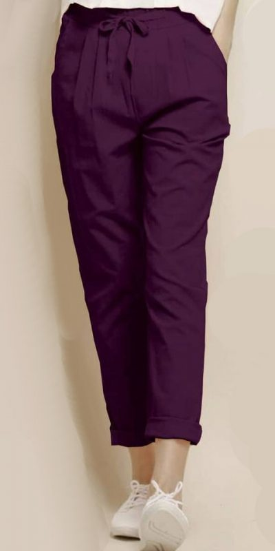alluring-wine-color-cotton-with-linen-weaving-comfort-trouser