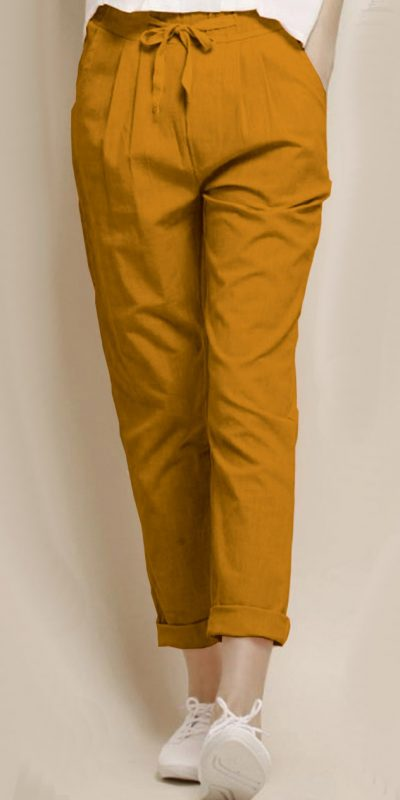 alluring-yellow-color-cotton-with-linen-weaving-comfort-trouser