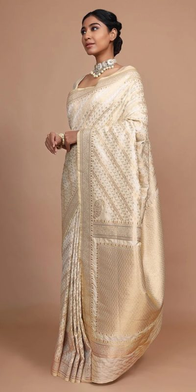 amazing-white-and-beige-color-soft-lichi-silk-jacquard-saree