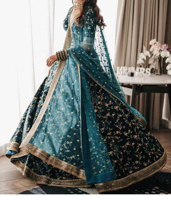bridal-lehenga-for-womens-in-teal-green-color-light-weight-viscos-velvet