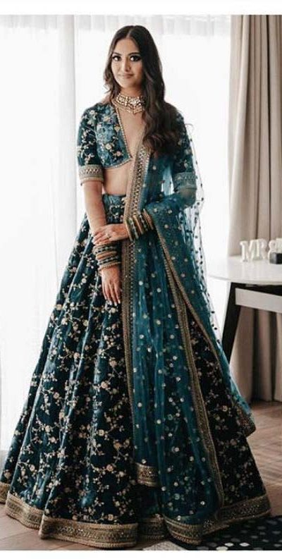bridal-lehenga-for-womens-in-teal-green-color-light-weight-viscos-velvet