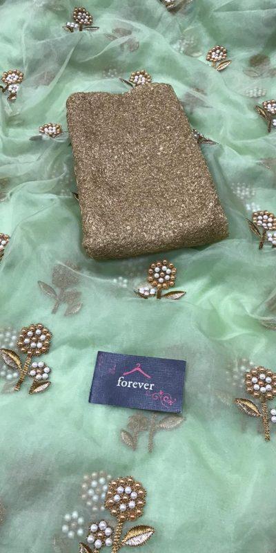 butterfly-net-green-multi-embroidery-silver-zari-pearl-work-saree